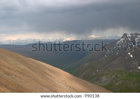 Sary-Djaz mountain range, Kyrgyzstan - stock photo