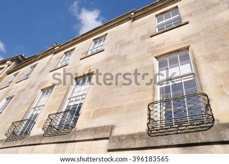 Sash Windows of Old Terraced Houses - stock photo