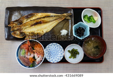 Sashimi raw fish on rice set serve with grilled fish