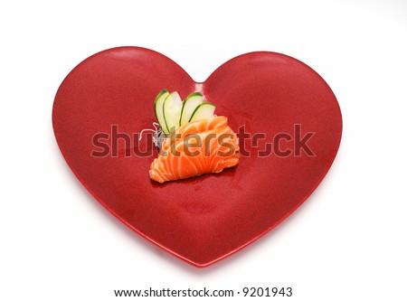Sashimi Salmon Sushi in Heart for Valentines - stock photo