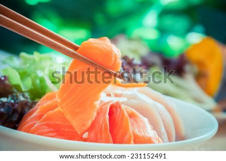 Sashimi set,japanese food - stock photo