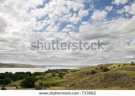 Saskatchewan Landing, Diefenbaker Lake. - stock photo
