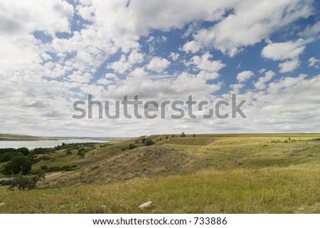 Saskatchewan Landing, Diefenbaker Lake. - stock photo