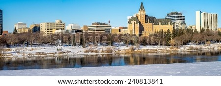 Saskatchewan River valley and Saskatoon skyline on a cold winter day.  - stock photo