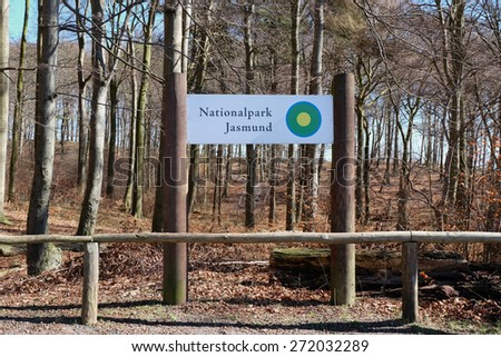 SASSNITZ, GERMANY - APRIL 3, 2015: Beech forest of Jasmund National Park at the Island of Rugen, Mecklenburg-Vorpommern