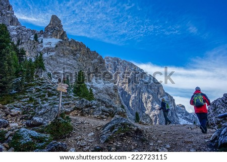 Sasso Lungo group in the Dolomites mountains of northern Italy
