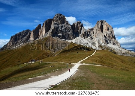 Sassolungo - Langkofel, Dolomites - stock photo