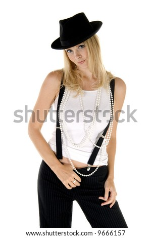 Sassy blonde gangster woman in retro clothing reminiscent of 1940's menswear and strings of pearls