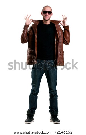 sassy classy guy in a leather jacket collar bulge - stock photo