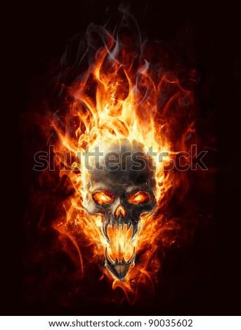 satanic burning skull bringer of doom - stock photo