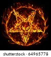 Satanic fire pentagram - stock photo