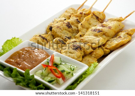 Satay Chicken - stock photo
