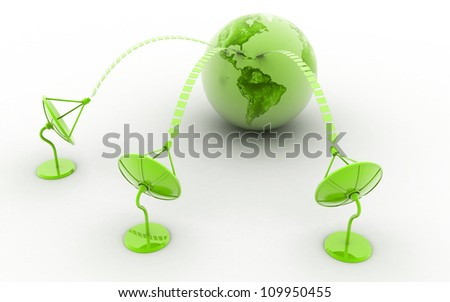 Satelite dish and earth isolated on white background - stock photo