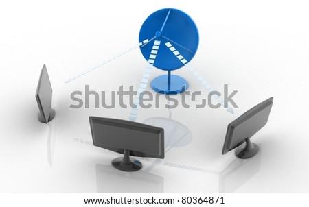 Satelite dish and monitors isolated on white background - stock photo