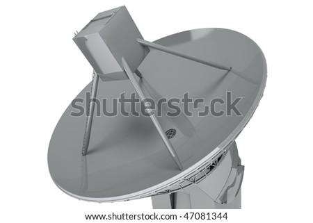 Satelite dish isolated on white background. - stock photo