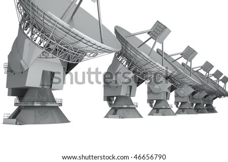 Satelite dish isolated on white background. 3d render