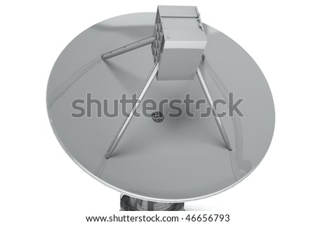 Satelite dish isolated on white background. 3d render - stock photo