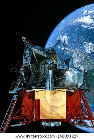 satelite orbiting  in the space - stock photo