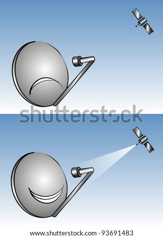 satellite antenna, analog and digital, graphic - stock photo