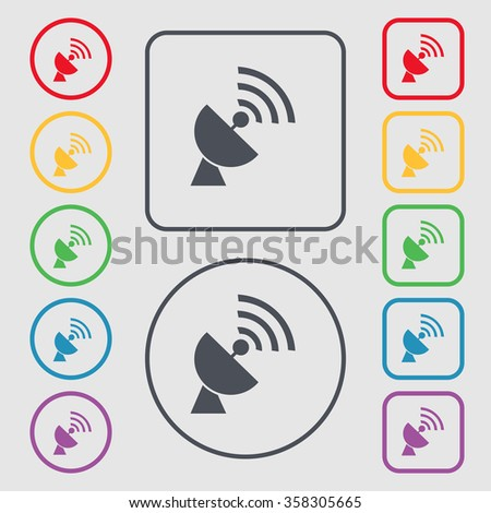 Satellite antenna icon sign. symbol on the Round and square buttons with frame. illustration - stock photo