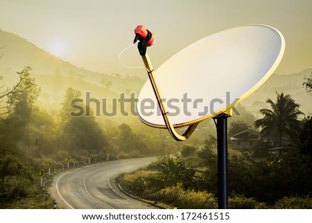 Satellite Antenna in the country site - stock photo