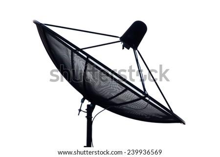 Satellite antenna on white background - stock photo