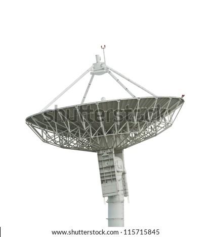 satellite antenna on white with path - stock photo