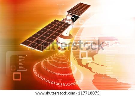 satellite  at the Earth orbit - stock photo