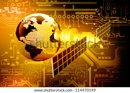 satellite  at the Earth orbit on abstract technology background