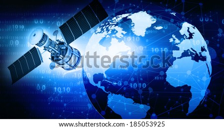 Satellite communications concept, abstract background  - stock photo