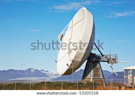 Satellite communications dish near Hofn, Iceland - stock photo