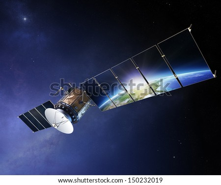 Satellite communications with earth reflecting in solar panels ( Elements of this 3d  image furnished by NASA) - stock photo