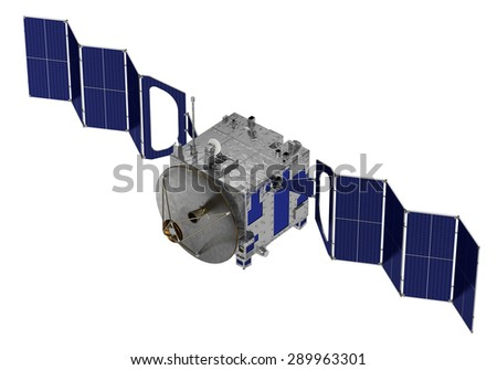 Satellite Deploys Solar Panels. 3D Model. - stock photo