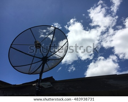 satellite disc against blue sky