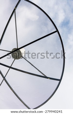 Satellite dish against cloudy sky
