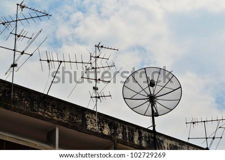 Satellite Dish and Antenna TV - stock photo