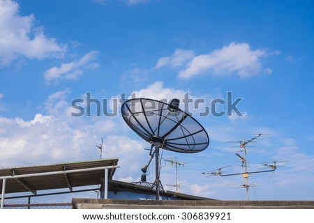 satellite dish and could blue sky,nature