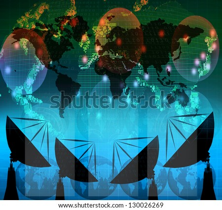 satellite dish and digital data  on blue color theme use for multipurpose - stock photo
