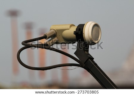 Satellite dish antenna at floating hotel resort. - stock photo