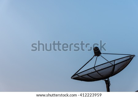 Satellite Dish Antenna with blue gradient sky. Copy space