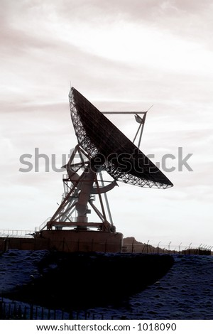 Satellite Dish - backlit - stock photo