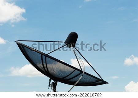 Satellite dish communication technology network - stock photo