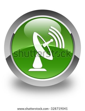 Satellite dish icon glossy soft green round button - stock photo