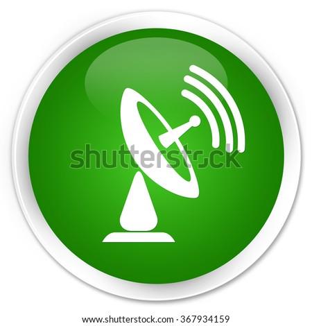 Satellite dish icon green glossy round button - stock photo