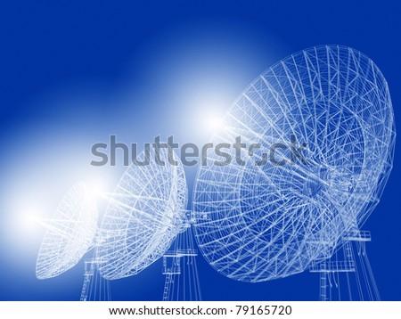 Satellite dish illustration on blue. - stock photo