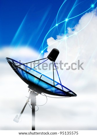 Satellite dish in cloud - stock photo