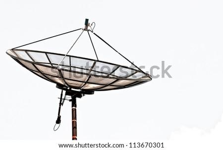 Satellite dish isolated on a white background - stock photo