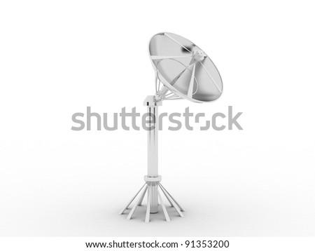 Satellite dish isolated on white background. - stock photo