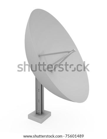 Satellite Dish isolated on white - 3d illustration - stock photo