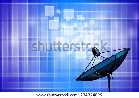 satellite dish on blue background - stock photo